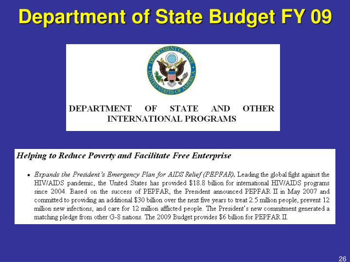 Department of State Budget FY 09
