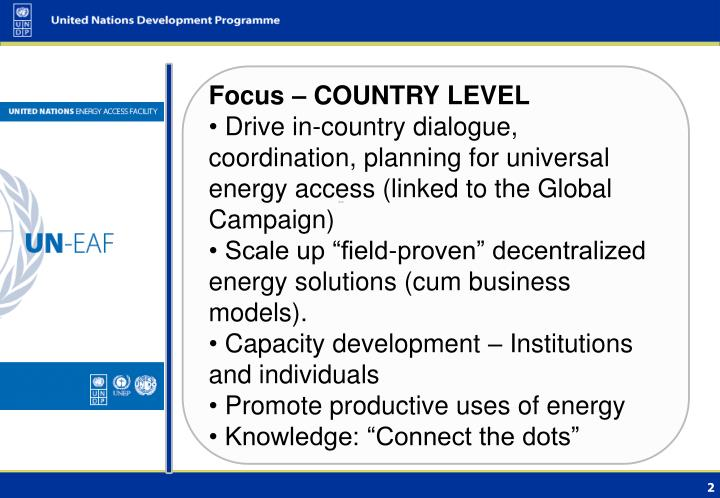 Focus – COUNTRY LEVEL