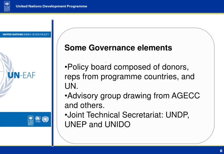 Some Governance elements