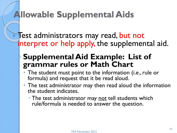 Allowable Supplemental Aids