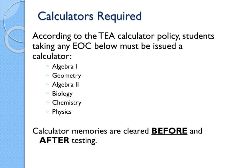 Calculators Required