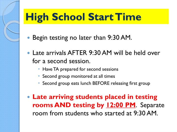 High School Start Time