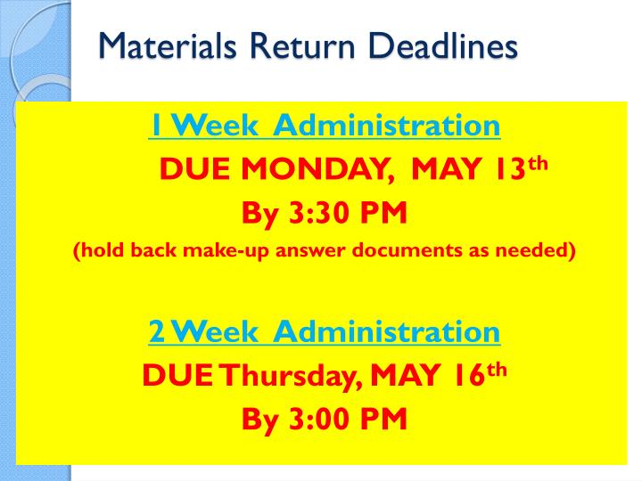 Materials Return Deadlines