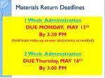 materials return deadlines