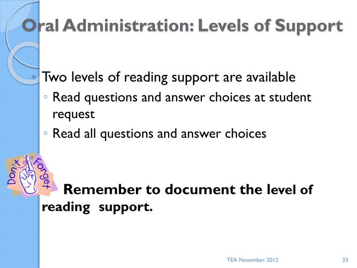 Oral Administration: Levels of Support