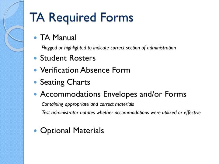 TA Required Forms