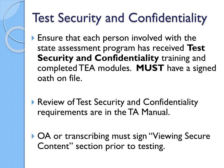 Test security and confidentiality
