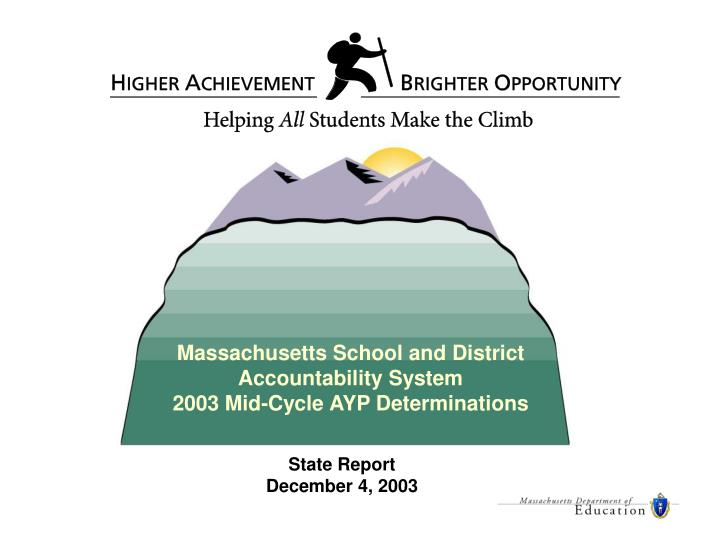 Massachusetts School and District Accountability System                         2003 Mid-Cycle AYP D...