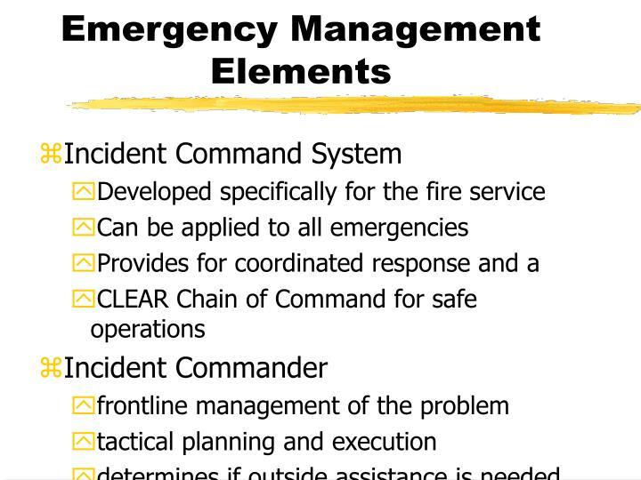 Emergency Management Elements