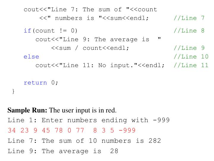 """cout<<""""Line 7: The sum of """"<<count"""