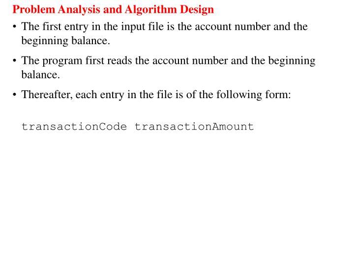 Problem Analysis and Algorithm Design