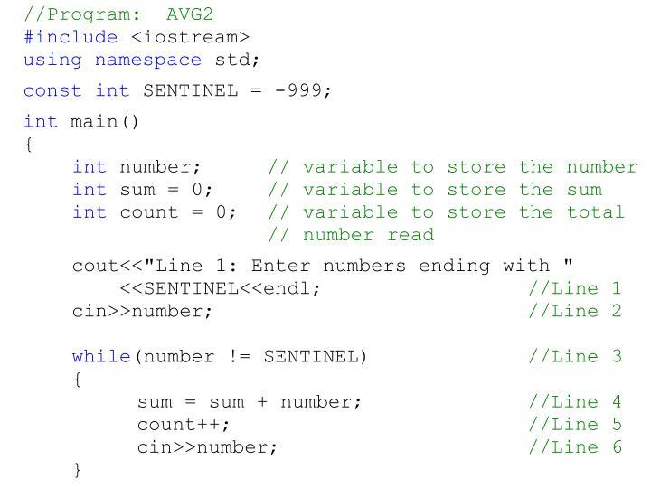 //Program:  AVG2