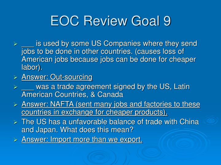 EOC Review Goal 9