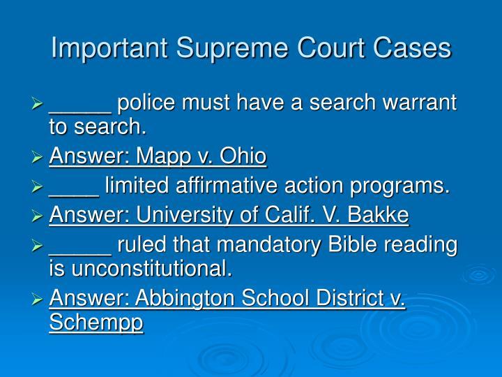 Important Supreme Court Cases
