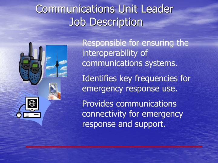 Responsible for ensuring the interoperability of communications systems.
