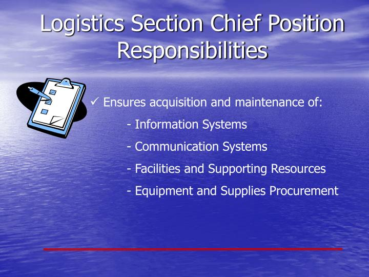 Logistics Section Chief Position Responsibilities