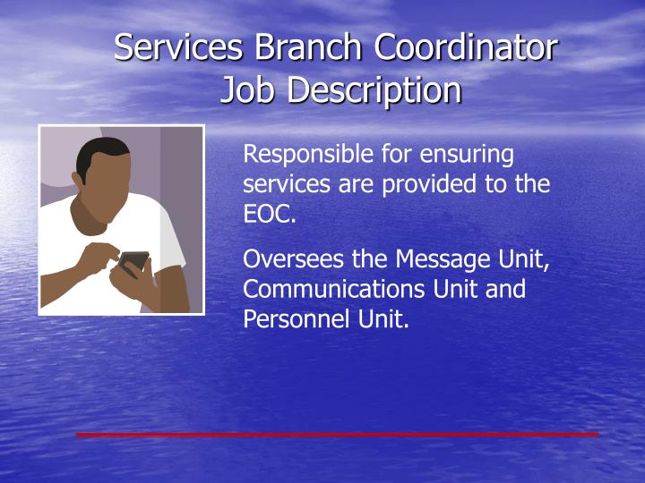 Responsible for ensuring services are provided to the EOC.