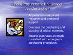 supply procurement unit leader job description