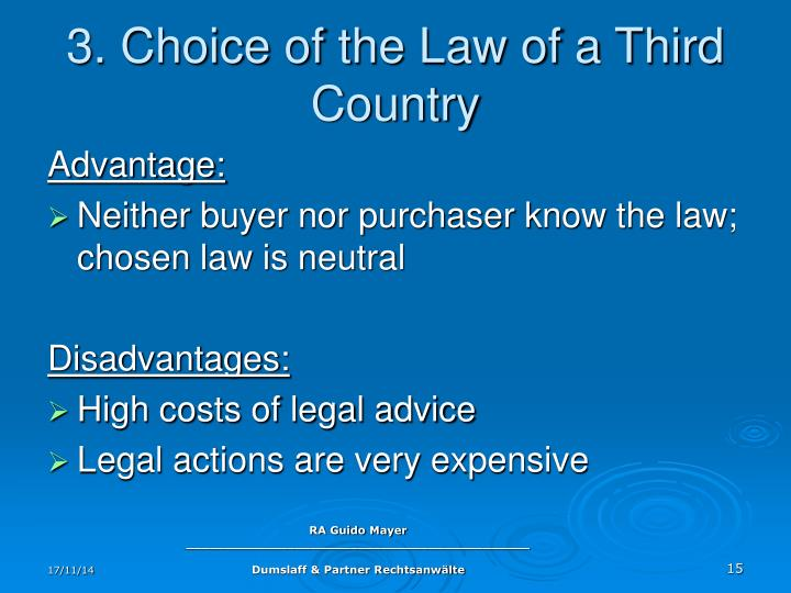 3. Choice of the Law of a Third Country