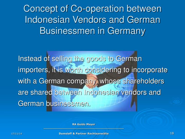 Concept of Co-operation between Indonesian Vendors and German Businessmen in Germany