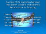 concept of co operation between indonesian vendors and german businessmen in germany