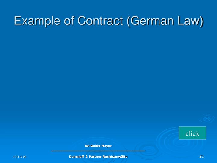Example of Contract (German Law)