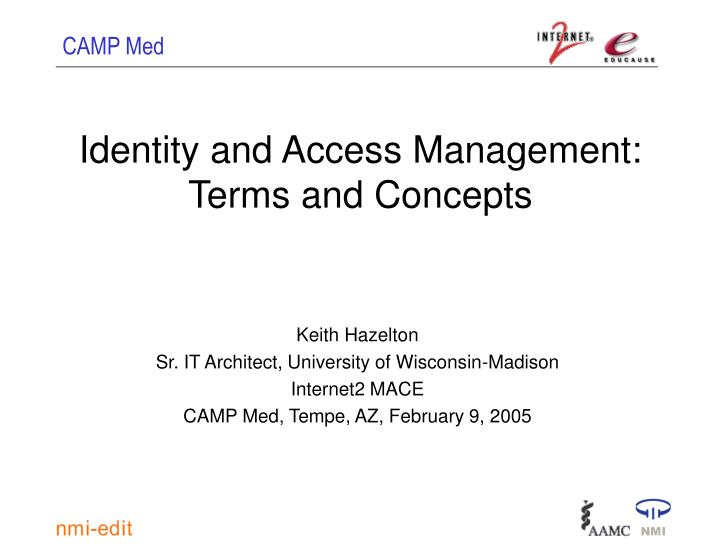 identity and access management terms and concepts