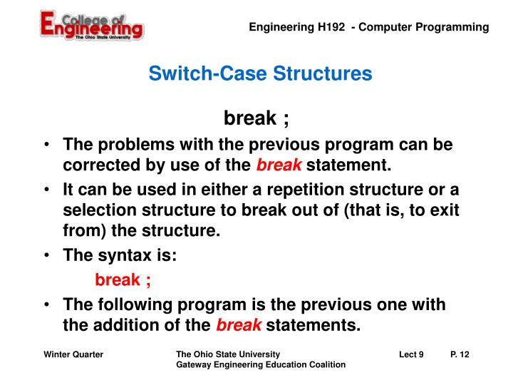 Switch-Case Structures