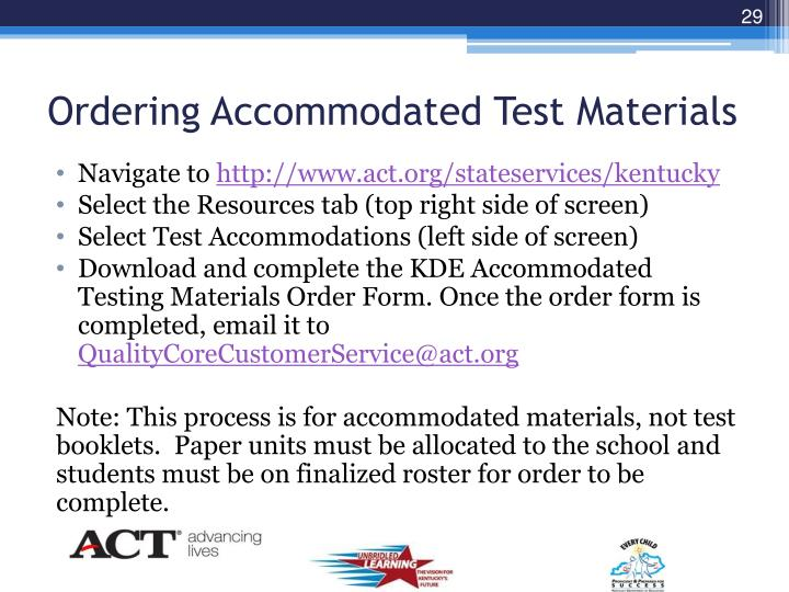 Ordering Accommodated Test Materials
