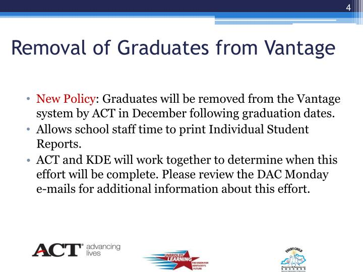 Removal of Graduates from Vantage