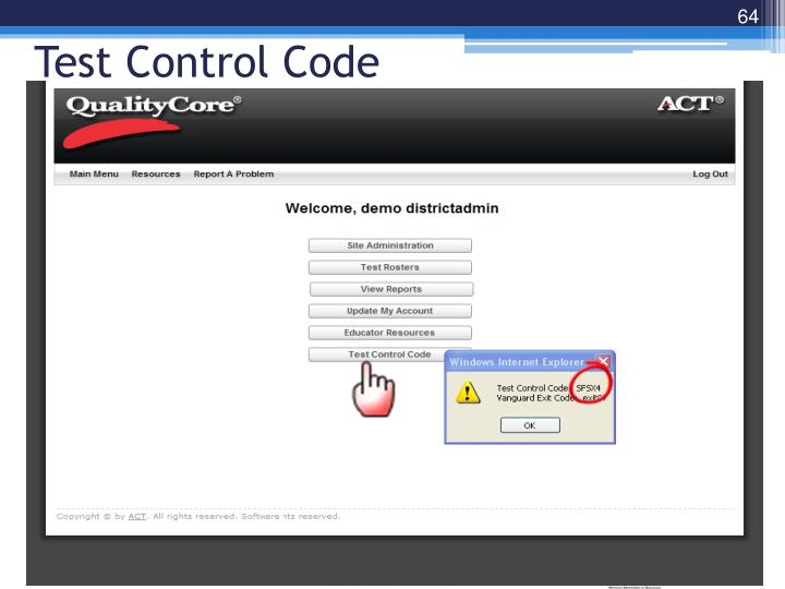 Test Control Code