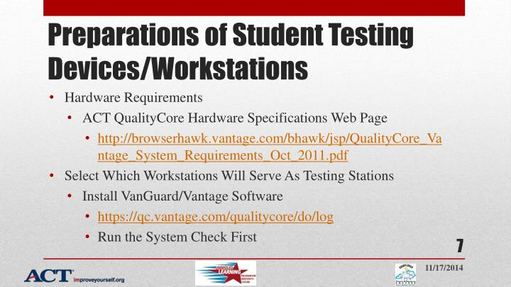 Preparations of Student Testing Devices/Workstations