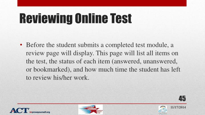 Reviewing Online Test