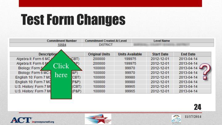Test Form Changes