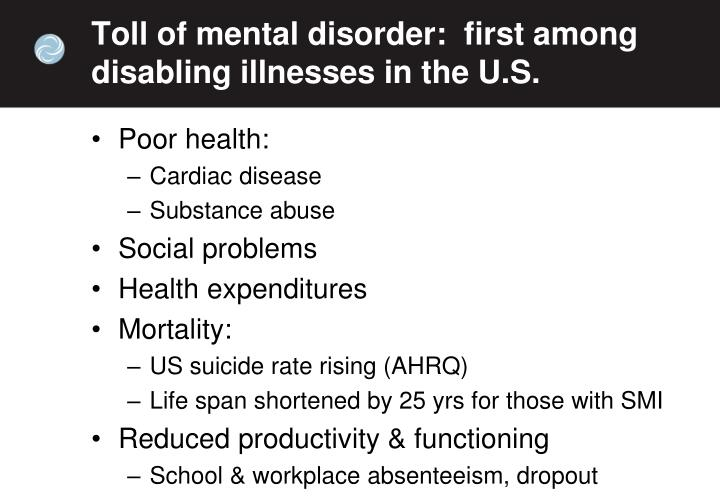 Toll of mental disorder:  first among disabling illnesses in the U.S.