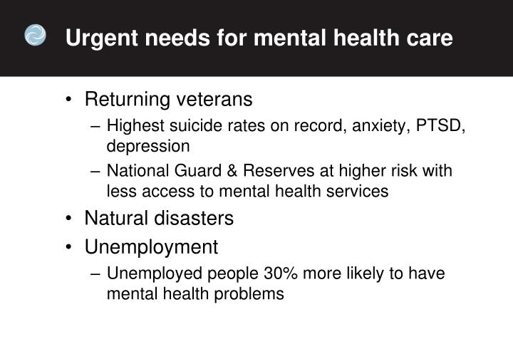 Urgent needs for mental health care