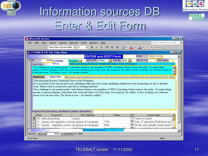 Information sources DB