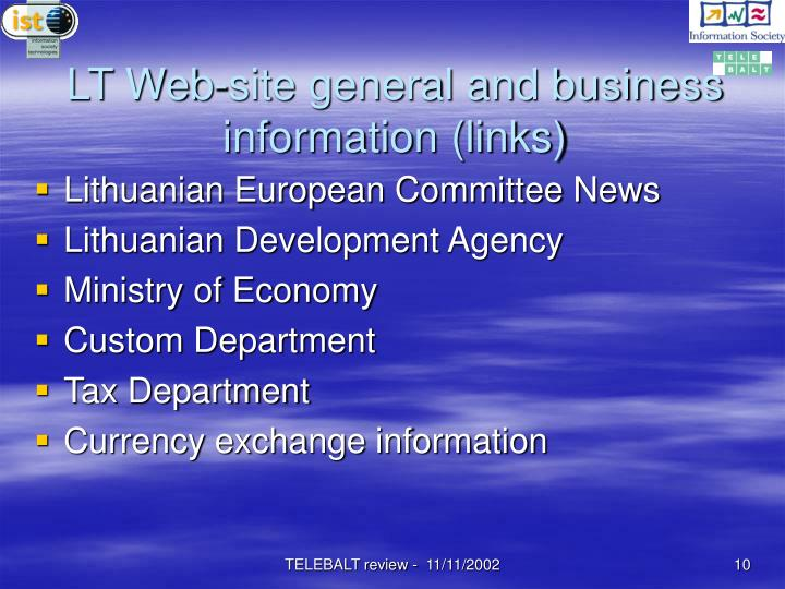LT Web-site general and business information (links)