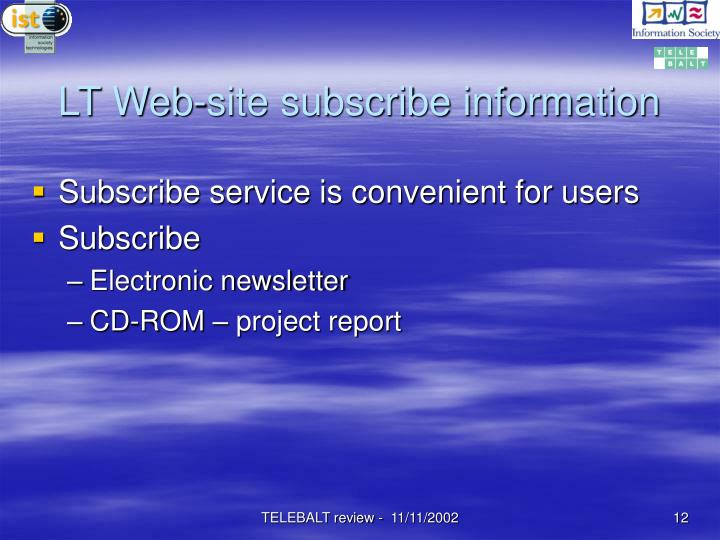 LT Web-site subscribe information