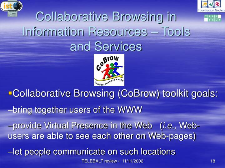 Collaborative Browsing in Information Resources – Tools and Services