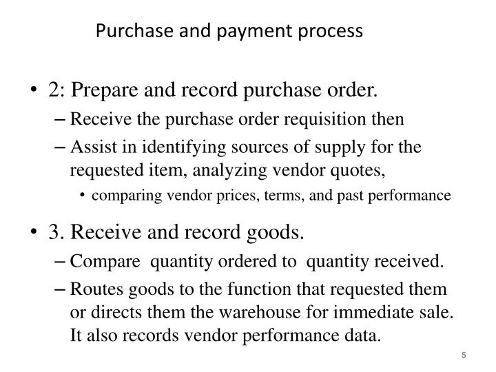 Purchase and payment process