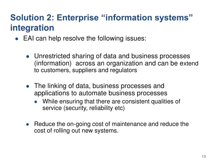"Solution 2: Enterprise ""information systems"" integration"