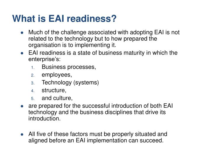 What is EAI readiness?