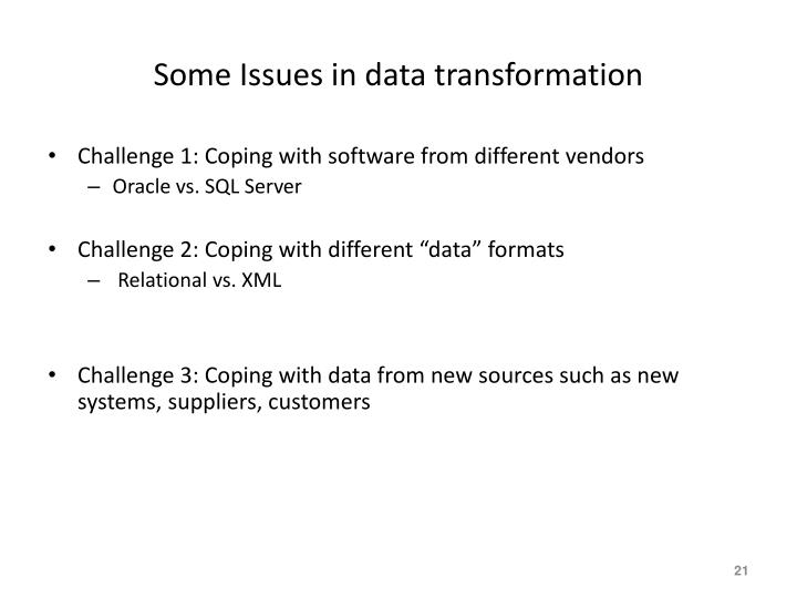 Some Issues in data transformation