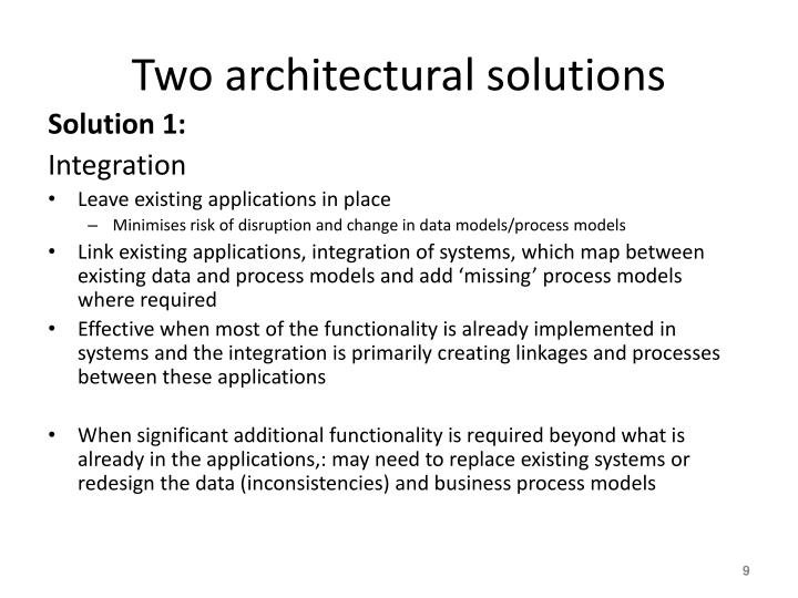 Two architectural solutions