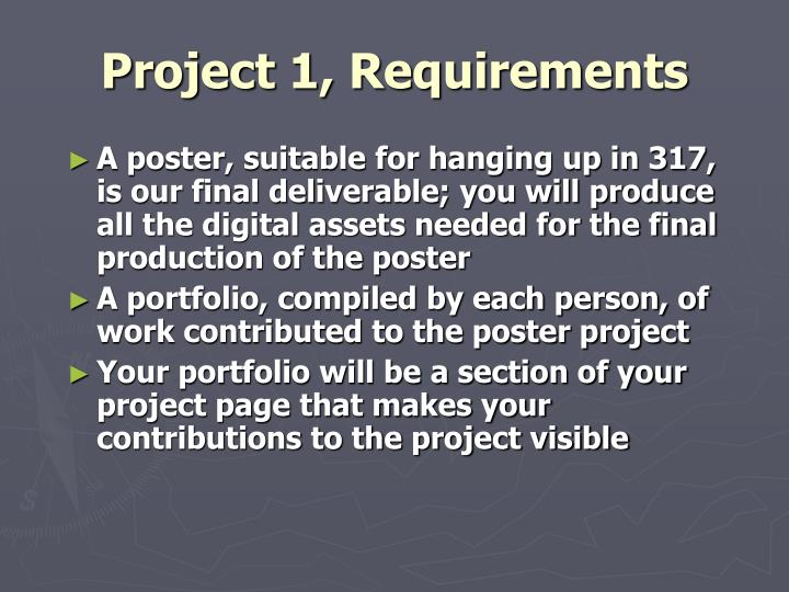 Project 1, Requirements