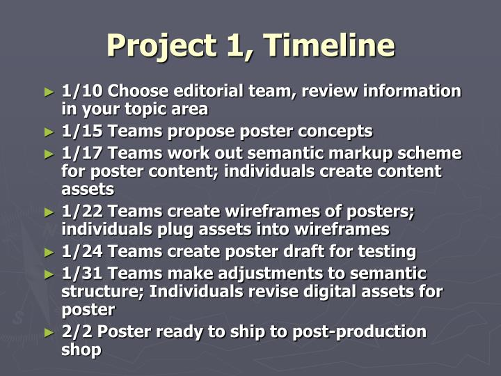 Project 1, Timeline