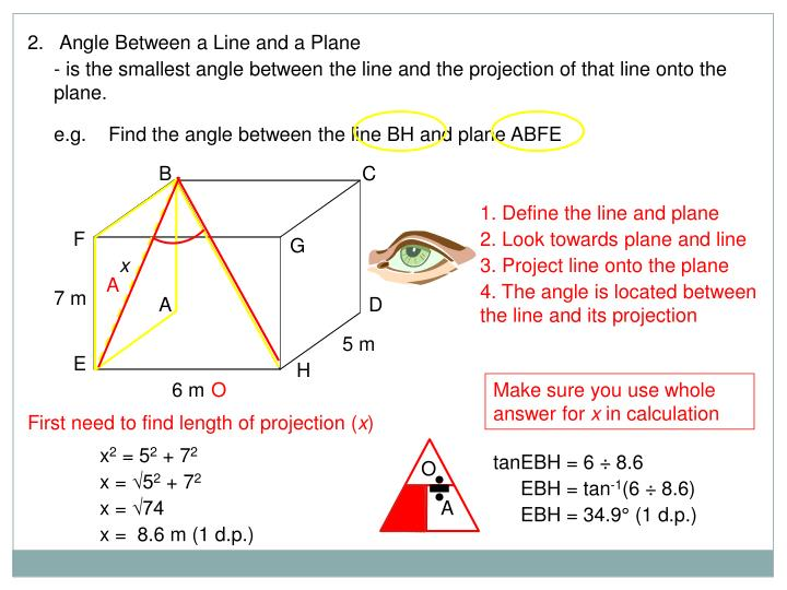 2.   Angle Between a Line and a Plane