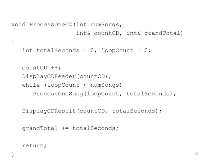 void ProcessOneCD(int numSongs,
