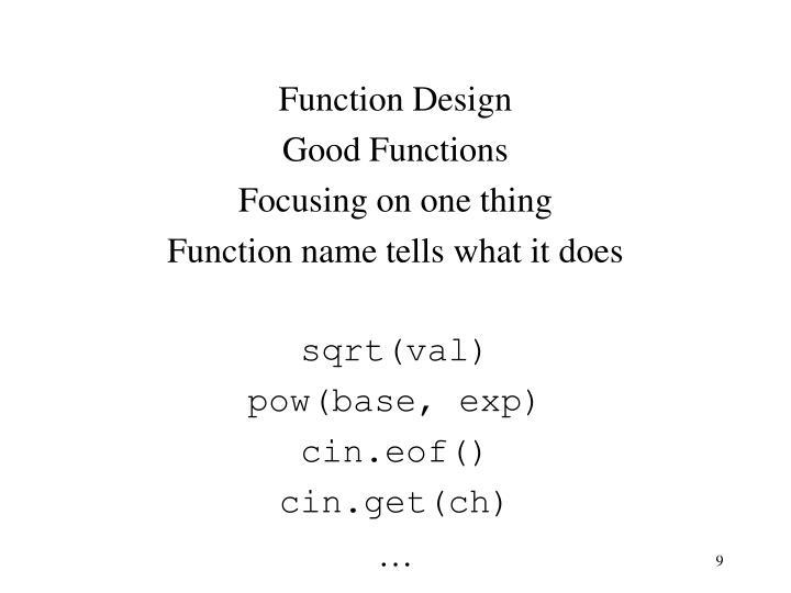Function Design